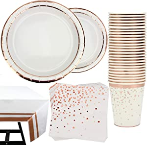 81 Piece Decorative Rose Gold Party Supplies Set Including Plates, Cups, Napkins and Tablecloth, Serves 20