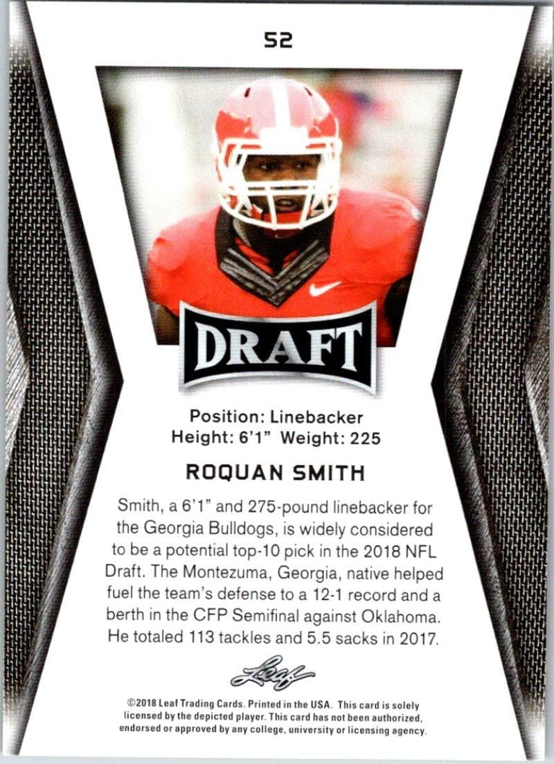 2018 Leaf Draft Gold #52 Roquan Smith Georgia Bulldogs Football Card