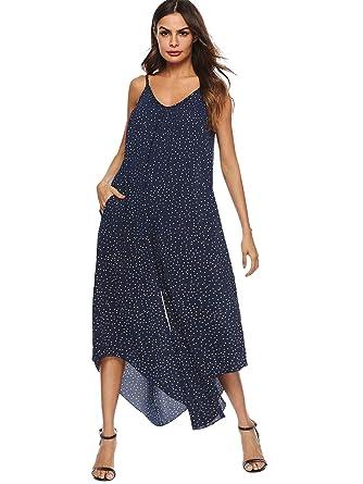 732a59d455dc DIDK Women s Spaghetti Strap Polka Dot Wide Leg Cami Jumpsuit Navy S