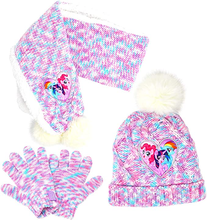 Girls Peppa Pig Winter Hat Scarf Mittens Set Pink Age 2-4 Years Pink Aqua Trim