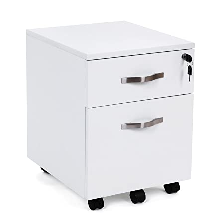 Songmics Lockable Filing Pedestal File Cabinets With 2 Drawers 5 Wheels Under  Desk Office Furniture MDF