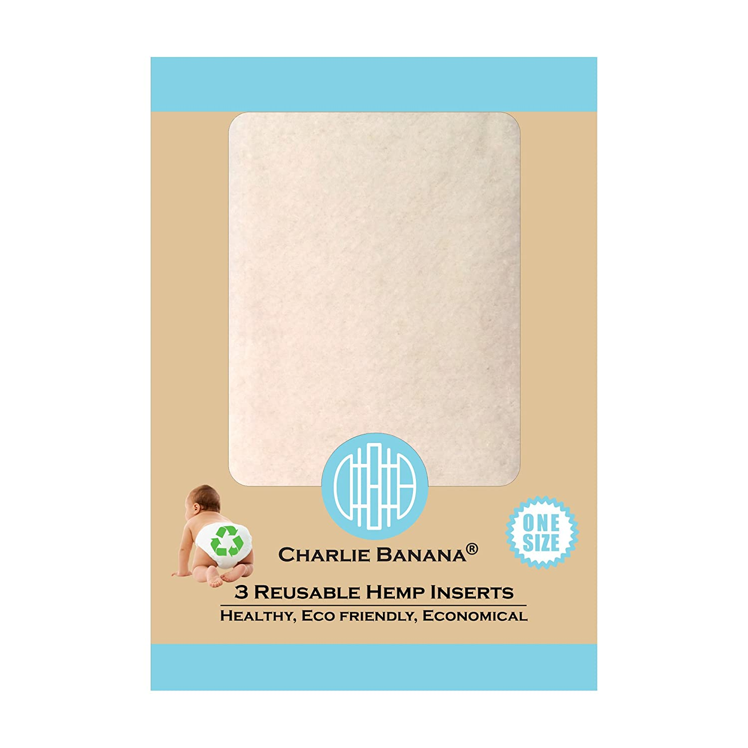 Charlie Banana Reusable Hemp Inserts, Size 1, Medium/Large, 3-Piece Winc Design Limited 889483