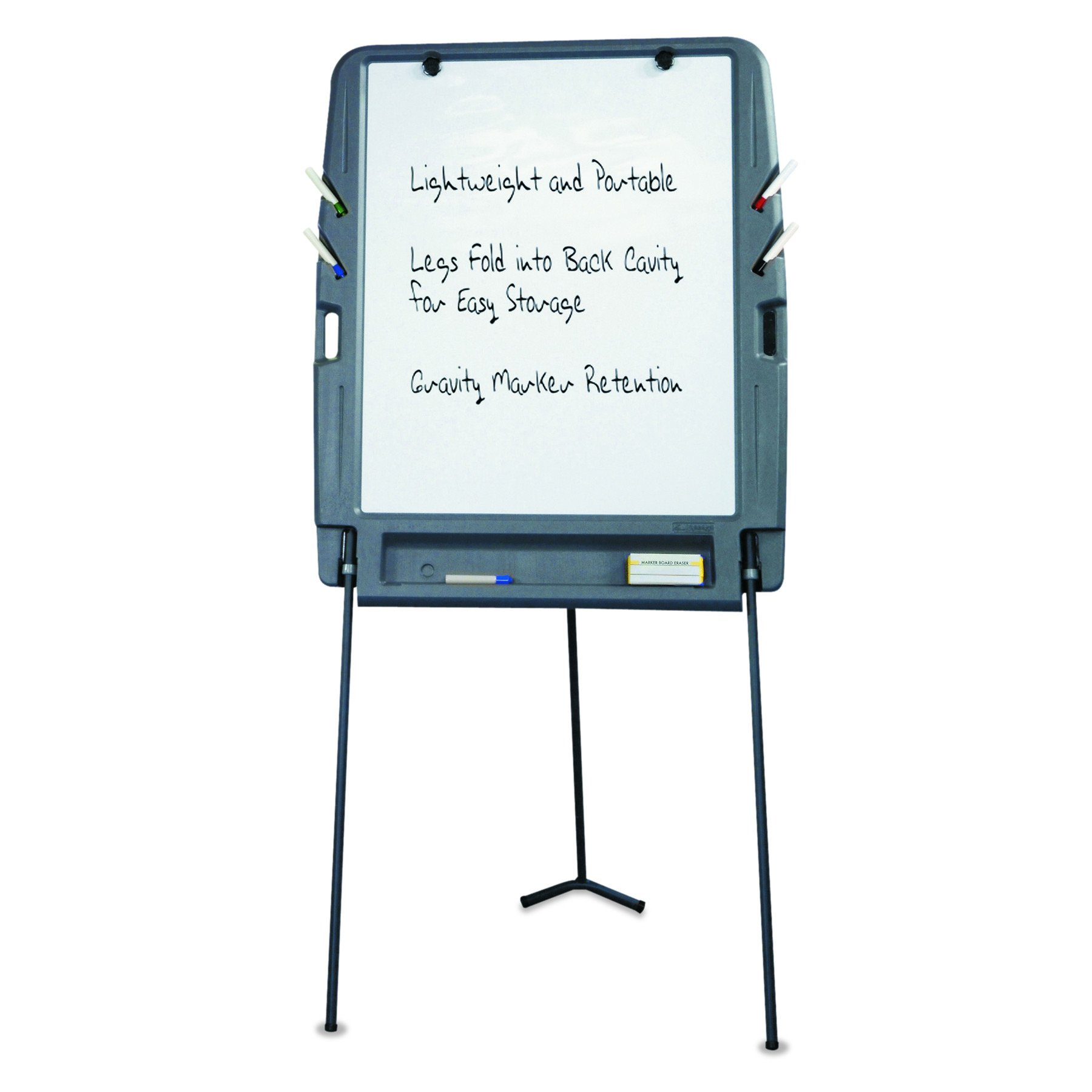 Iceberg ICE30227 Portable Flipchart Easel with Dry Erase Whiteboard Surface, Blow-molded Plastic Frame, 35'' Length x 30'' Width x 73'' Height, Charcoal