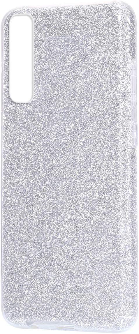 Felfy Glitter Custodia Compatibile con Galaxy A7 2018 Cover Argento Bling Brillantini Scintillante Custodia Ultra Sottile Morbida Silicone Gel TPU PC Tre Strati Antiurto Protectiva Cover