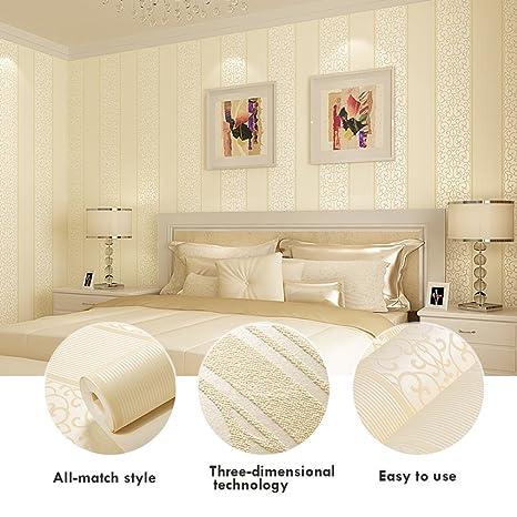 KINLO® Tapete Wand Beige 10Mx53cm Top Tapete Barock Vliestapete Tapete  Muster Tapete Streifen Wanddeko für Wohnzimmer, Schlafzimmer, Esszimmer ...