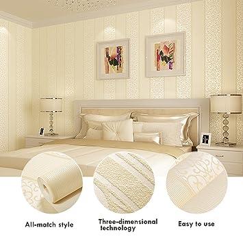 KINLO® Tapete Wand Beige 10Mx53cm Top Tapete Barock Vliestapete Tapete  Muster Tapete Streifen Wanddeko Für