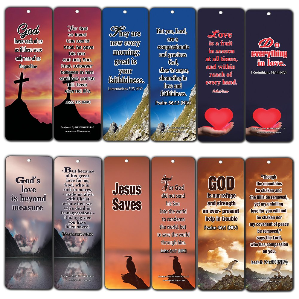 Popular Bible Verses About God's Love Bookmarks Cards (60-Pack) - Assorted Bulk Pack - John 3:16 Psalm 46:1 - Gift Ideas for Sunday School, Youth Group, Church Camp, Bible Study, Baptism, Homeschool by NewEights (Image #9)