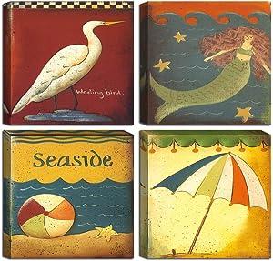 Kids Room Art,Abstract Seaside Canvas Wall Decor Prints,Vintage Wild Bird Print Wall Art,Coastal Bedroom Living Room Artwork,4 Panel Framed Decals,Mermaid Poster,Beach Funny Bathroom Laundry Room Sign