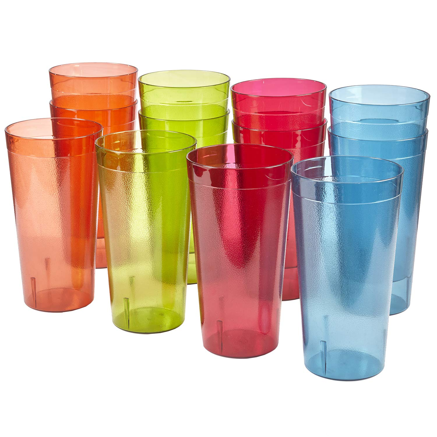 Café 32-ounce Plastic Restaurant Style Tumblers | set of 12 in 4 Assorted Colors