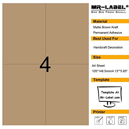 Amazon.com : Mr-Label Large Size Blank Kraft Labels -Self Adhesive ...