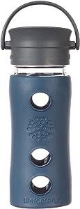Lifefactory 12-Ounce BPA-Free Insulated Glass Hot Tea and Coffee Travel Mug with Cafe Cap, Marine