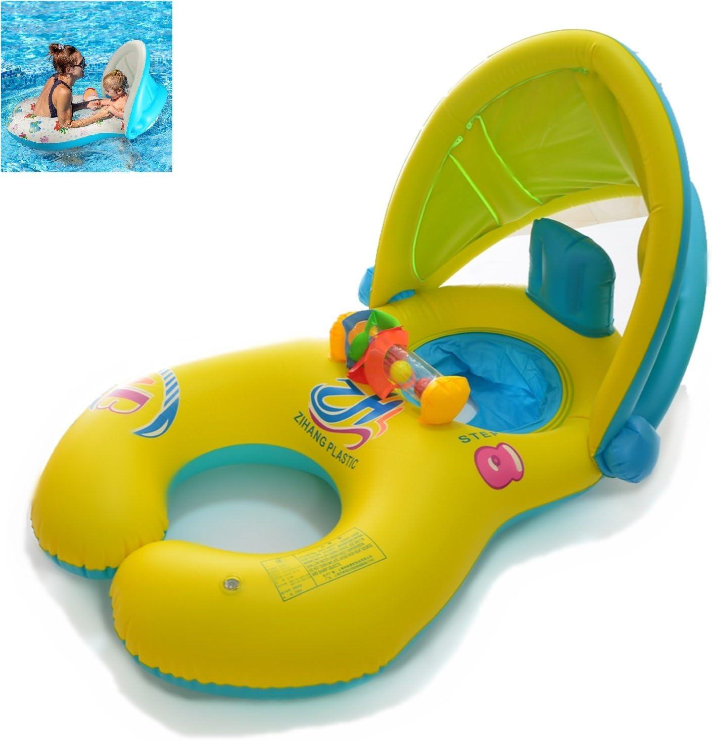 Anillo de natación de la madre y del bebé con el toldo inflable de la sombrilla de la seguridad desprendible, juguete del anillo de la natación de la persona doble para los niños(1-3 años) (Amarillo)