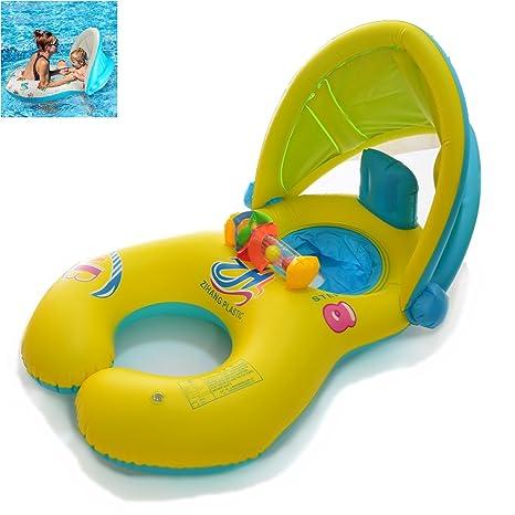 Anillo de natación de la madre y del bebé con el toldo inflable de la sombrilla