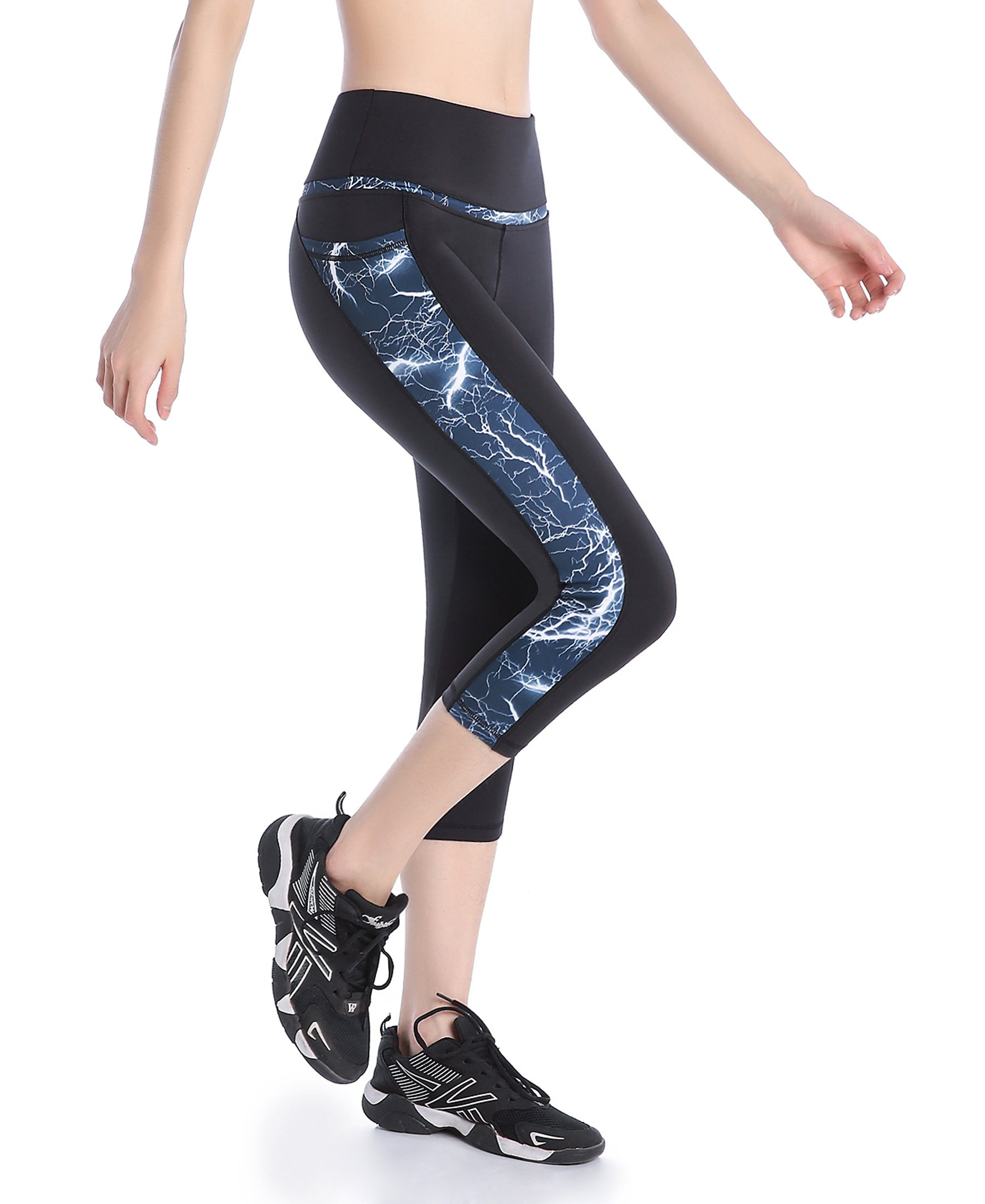 Picotee Women's Yoga Capri Pants Workout Running Pants Leggings High Waist with Pocket (XL, Blue Lightning)