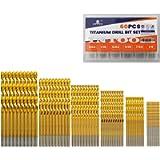INTOO Mini Drill Bit Set 60 Pcs+12 Pcs Free High Speed Steel HSS Titanium Micro Drill Bits 3/64'-1/8' Metal,Plastic,Wood…