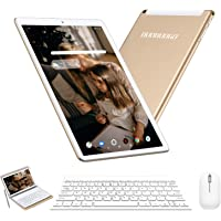 Tablet 10 Pulgadas 4G Android 9.0 IPS HD 4GB de RAM 64GB de ROM Tablet PC Quad Core Batería de 8000mAh Dual SIM y TF Dual Cámara Google Netflix WiFi,Bluetooth,GPS,OTG(Oro)