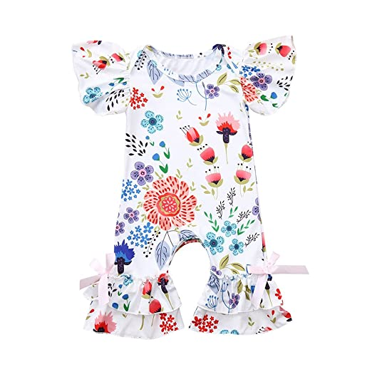 ee46e5bf33f Fineser Baby Romper Infant Girls Floral Print Ruffles Jumpsuit Summer  Casual Outfit Clothes (White