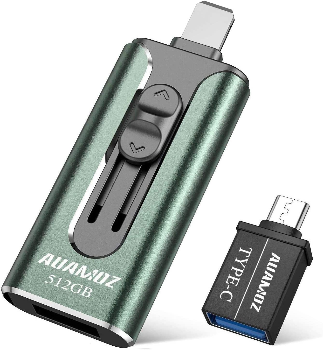 USB3.0 Flash Drives 512GB, AUAMOZ Memory Drive 512GB Photo Stick Compatible with Mobile Phone & Computers, Mobile Phone External Expandable Memory Storage Drive, Take More Photos & Videos (Dark Green)