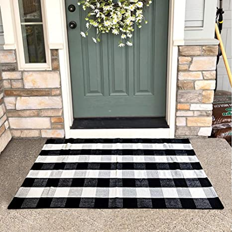 Kahouen Cotton Buffalo Plaid Rugs 35 4 X59 Black And White Washable Checkered Rugs Woven Throw Rug Floor Mat Carpet For Welcome Door Mat