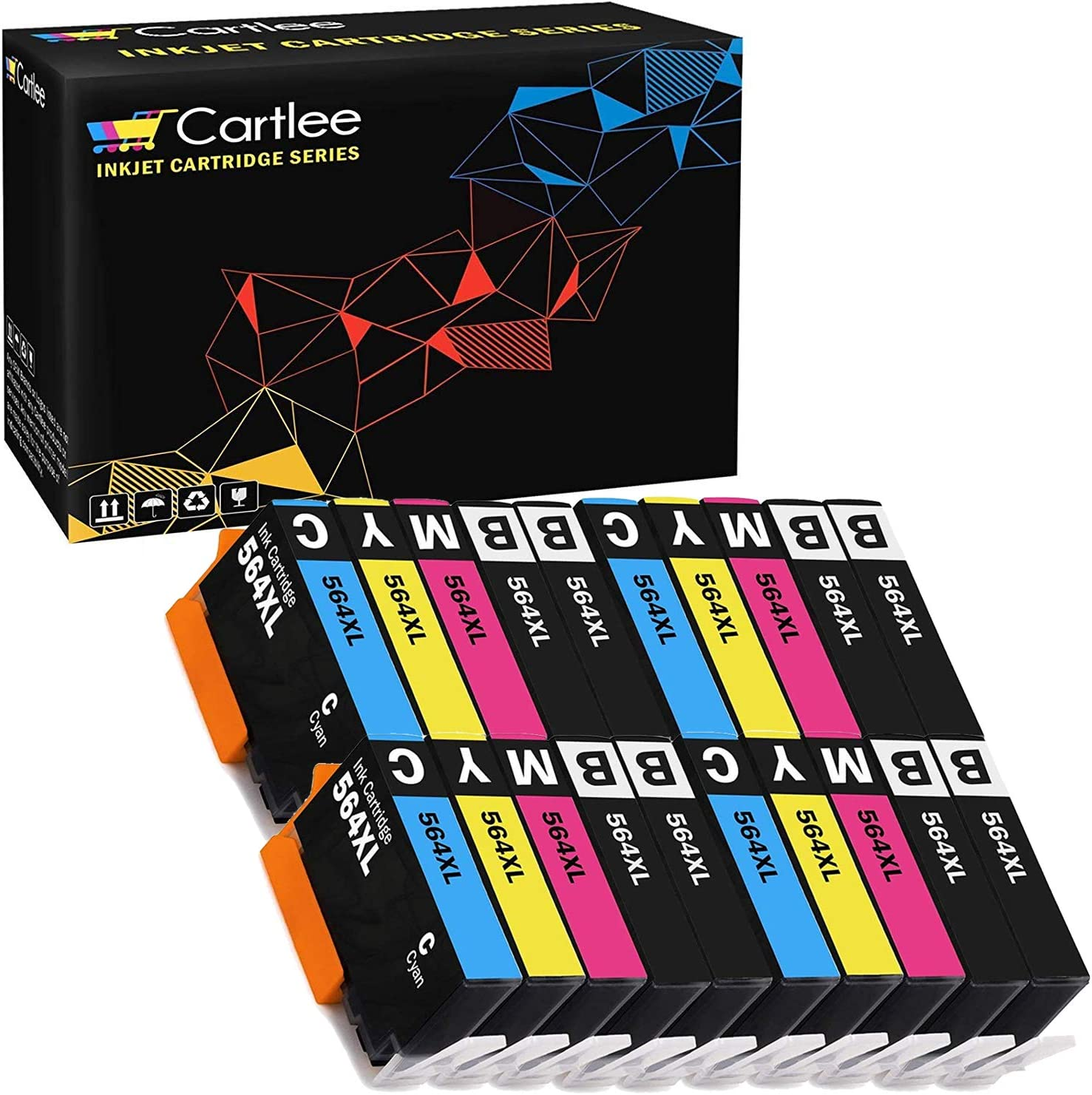 Cartlee Set of 20 Remanufactured 564XL High Yield Ink Cartridges for HP Photosmart 5510 5520 6510 6520 6525 7510 7520 7525 B8550 C6380 D7560 Premium C309A C410 Officejet 4620 Deskjet 3520