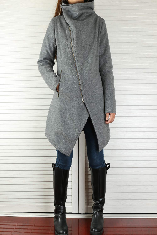 Women's Cashmere Wool Coat Grey