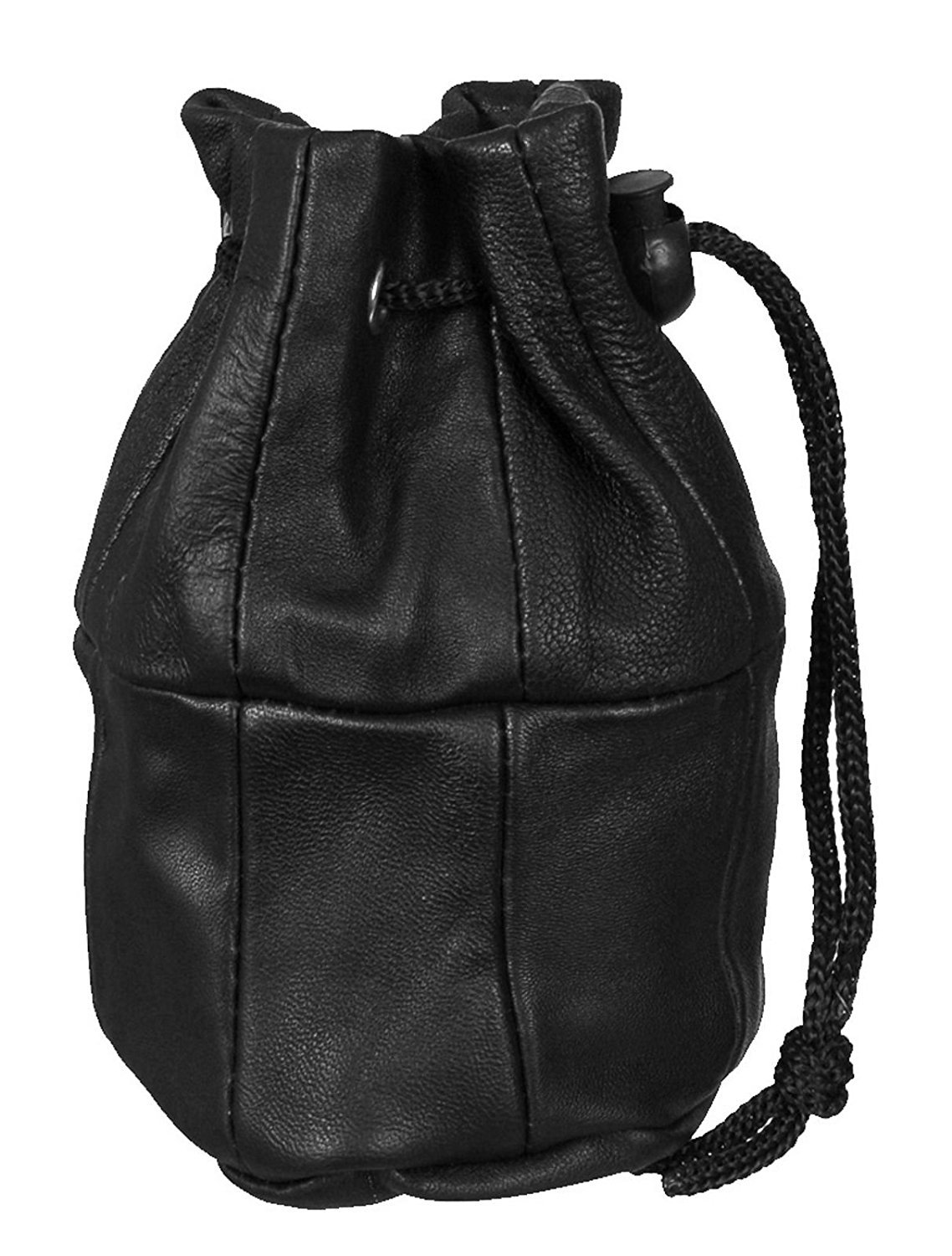 Real Leather Black Drawstring Bag purse Pouch Money Coin Holder Unisex Gent Ladies