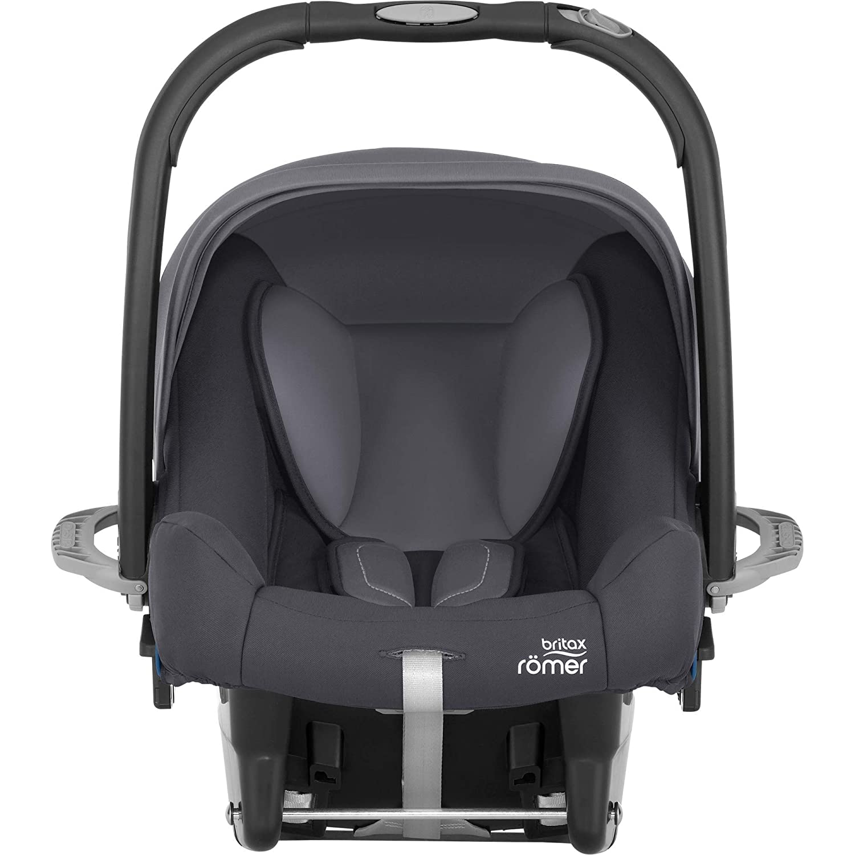 Britax Römer Babyschale Geburt - 13 Monate I 0 - 13 kg I BABY-SAFE PLUS SHR II Autositz Gruppe 0+ I Cosmos Black Storm Grey