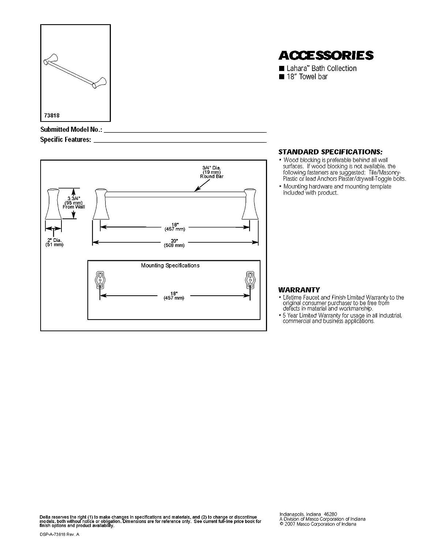 Delta Faucet 73818 Lahara 18 Towel Bar Polished Chrome