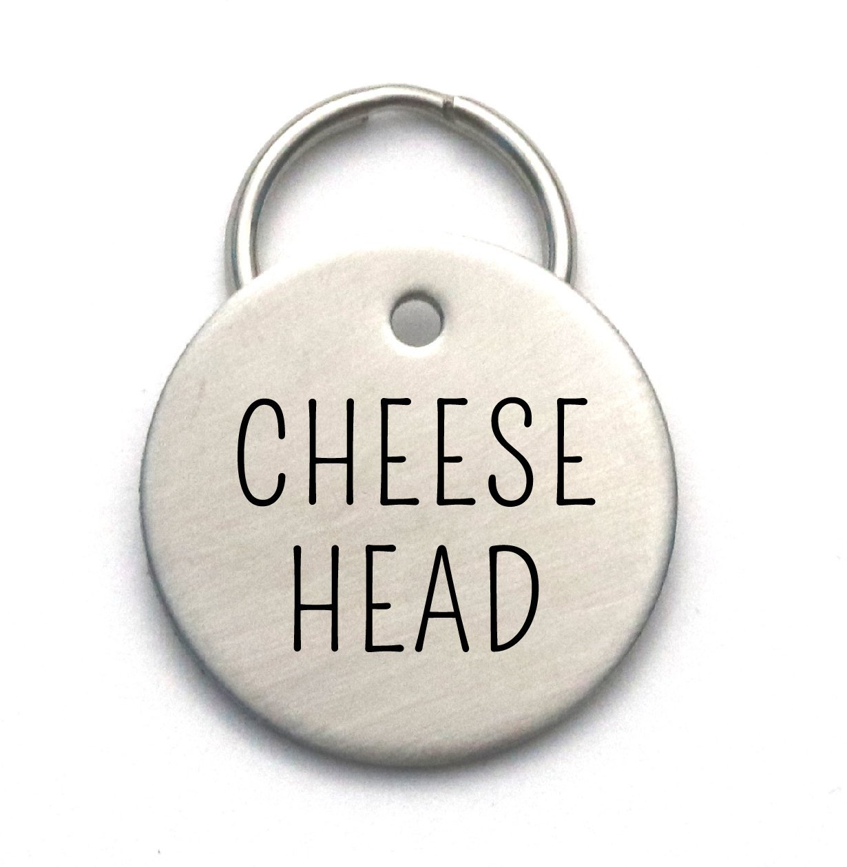 Cheese Head - Funny Custom Dog Tag Made of Strong Metal, Personalized With Pet's Name and Phone by Critter Bling