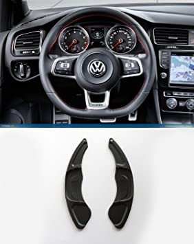 HIGH FLYING Aluminum Alloy Steering Wheel DSG Upgrade DSG Paddle shifters Extensions Gear Extensions 2pcs For Mk7 R GTI GTD GTE Piano 2014-2017 Car Accessory VWG7 Black