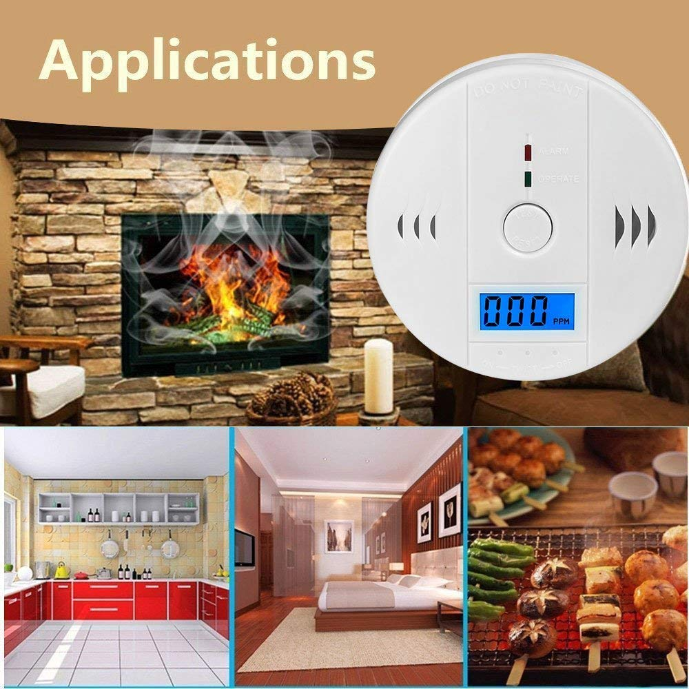 Carbon Monoxide Detector Alarm Pack 4, CO Gas Sensor Detector with Digital Display Alarm Clock Warning for Home (3 AA Battery not Included) (Pack 4)