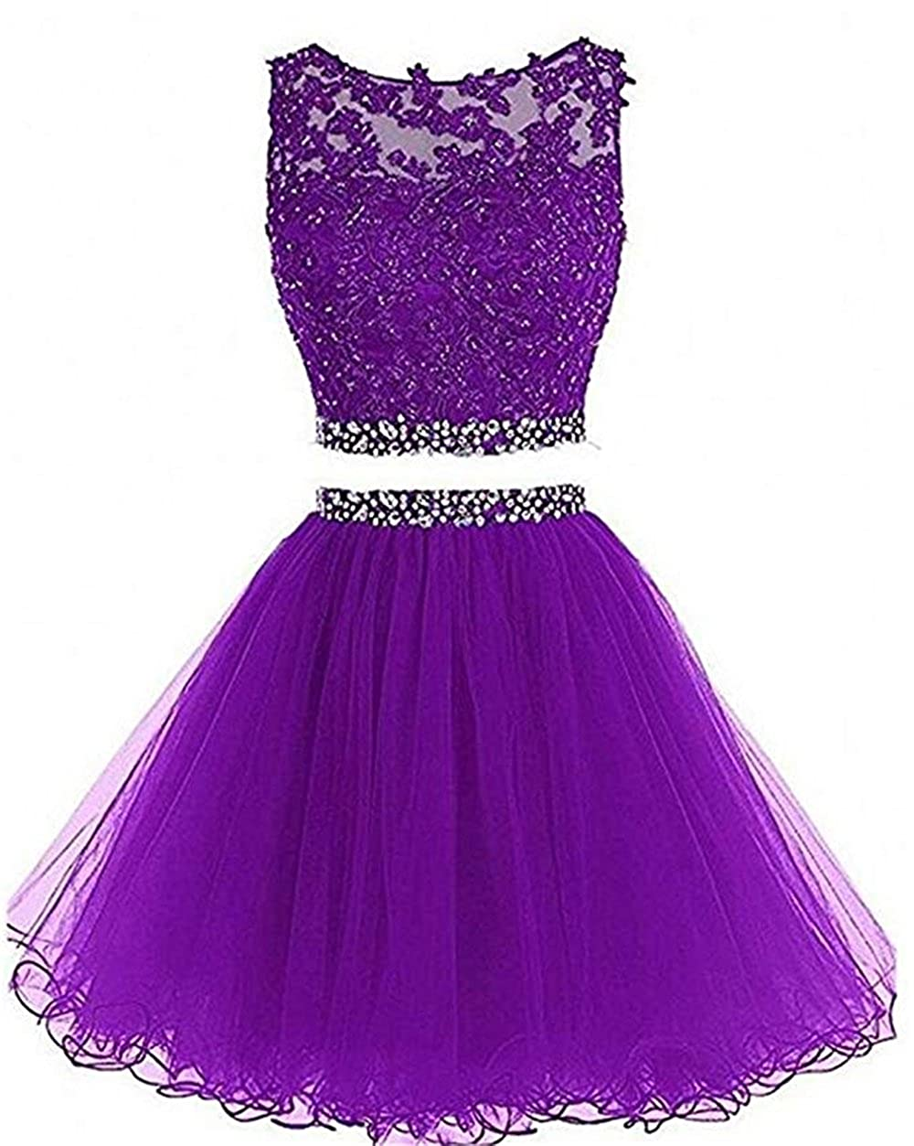 Purple qibinfs Women Dress Organza for Wedding Party Prom Birthday Party 2 Sets