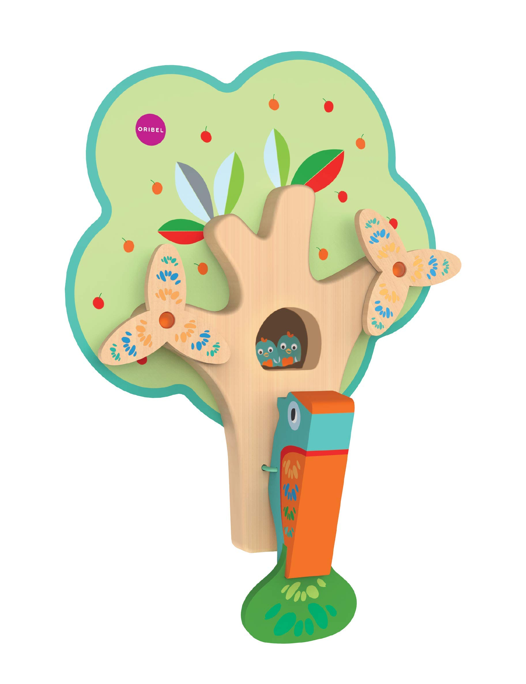 ORIBEL VertiPlay (Wall Toy) Busy Woodpecker, Wooden Toy and Nursery Room Decor | Easy to Install, Just Stick & Play