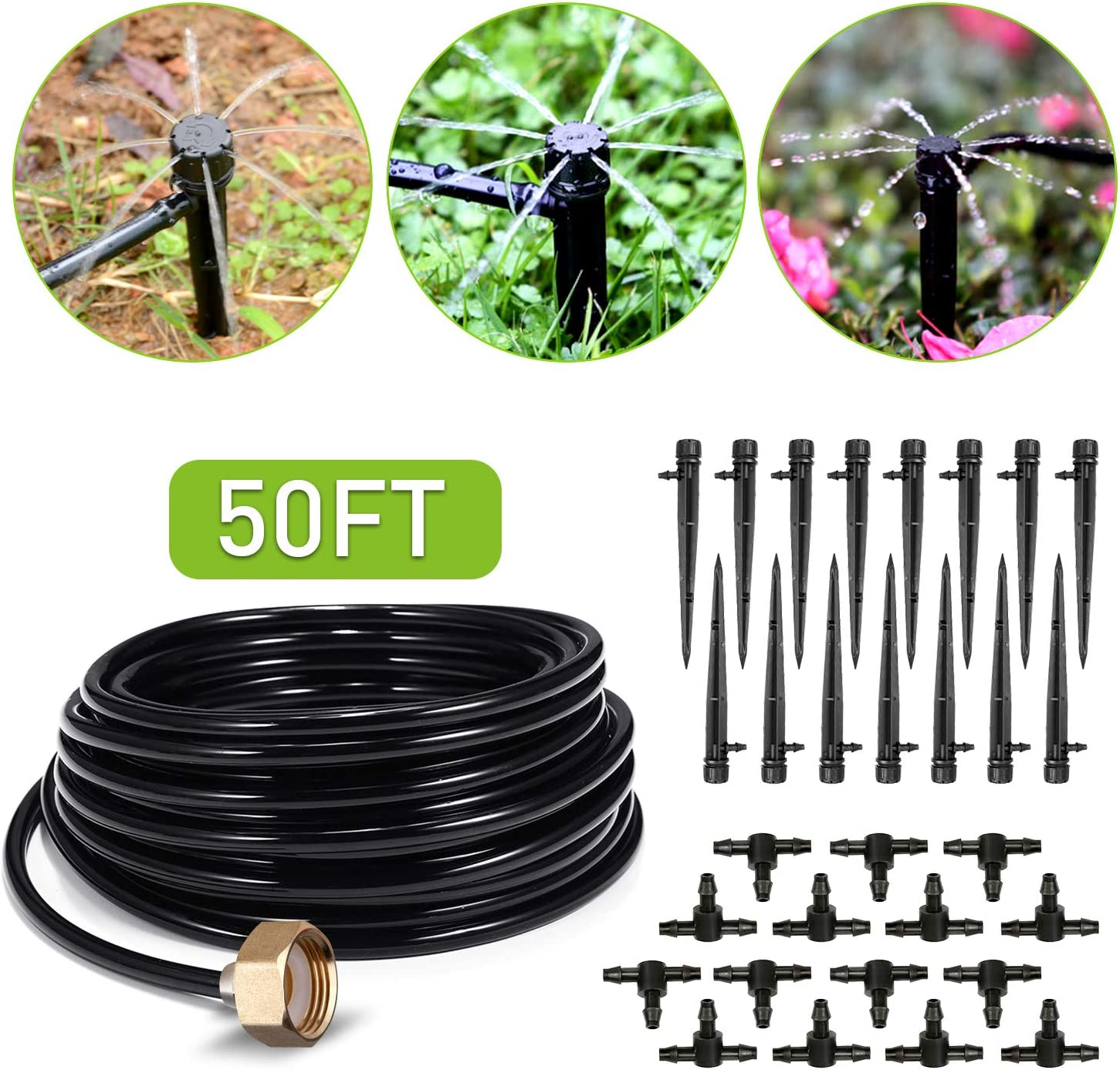 HIRALIY 50ft Drip Irrigation Kit Plant Watering System 8x5mm Blank Distribution Tubing DIY Automatic Irrigation Equipment Set for Garden Greenhouse Flower Bed Patio Lawn : Garden & Outdoor
