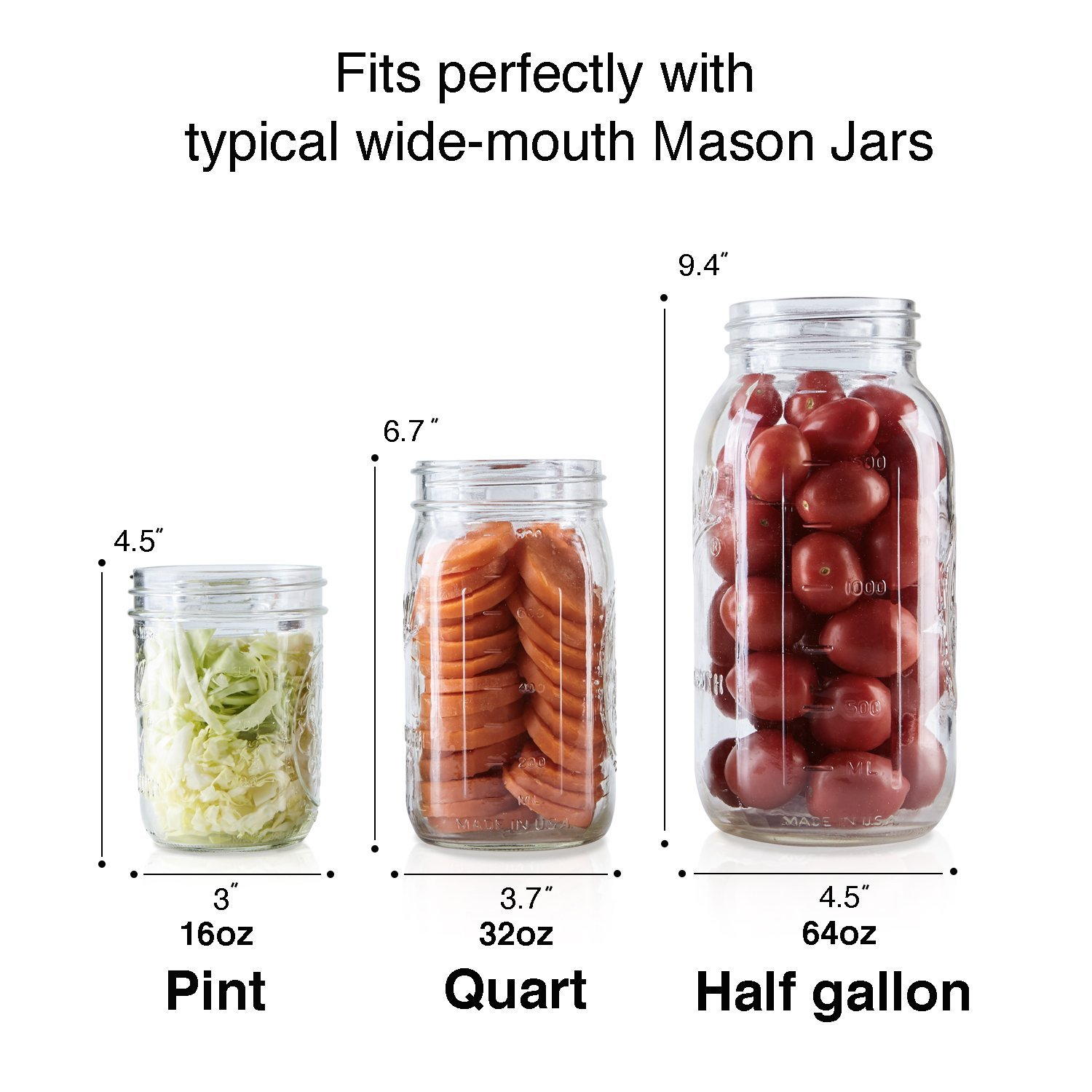 4-Pack of Fermentation Glass Weights with Easy Grip Handle for Wide Mouth Mason Jar by SOLIGT (Image #4)