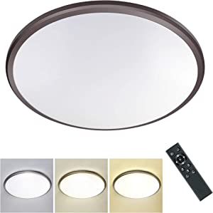 24W Dimmable LED Flush Mount Ceiling Light with Remote, 15 Inch Round Close to Ceiling Lights, 3000k-6500k Light Color Changeable, Timing LED Ceiling Light for Bedroom, Dining Room, Kitchen
