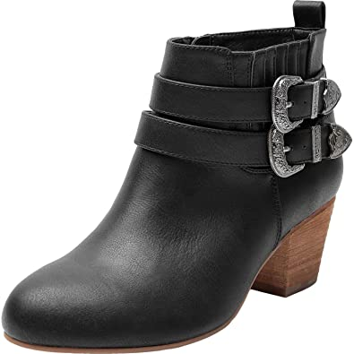 39bb2b3cf8c0 Luoika Women s Wide Width Ankle Boots - Side Zipper Metal Flower Buckle  Strap Mid Chunky Block
