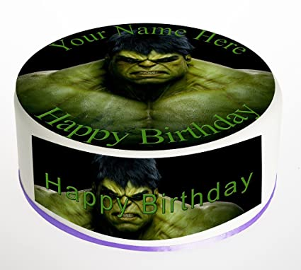 """Hulk Personalised 7.5/"""" Cake Topper Edible icing  Birthday Party Cake Topper"""