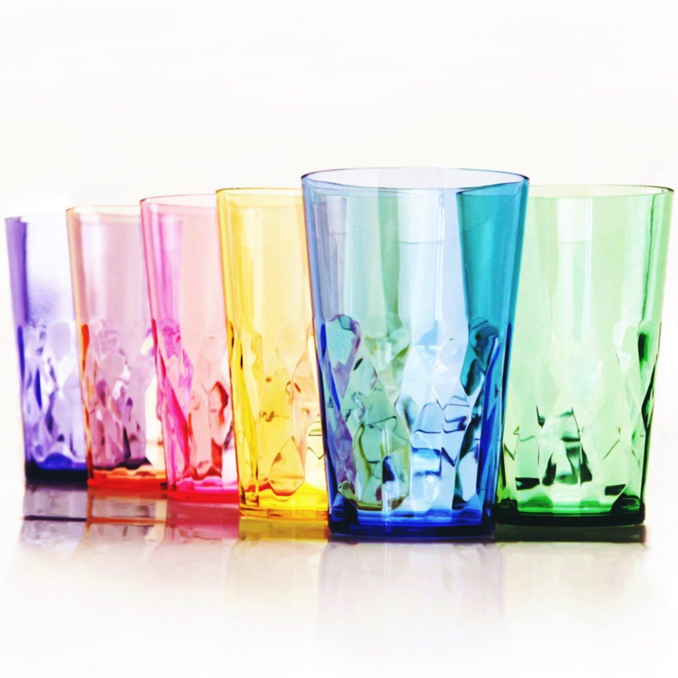 19 oz Premium Drinking Glasses - Set of 6 - Unbreakable Tritan Plastic - BPA Free - 100% Made in Japan (Assorted Colors)