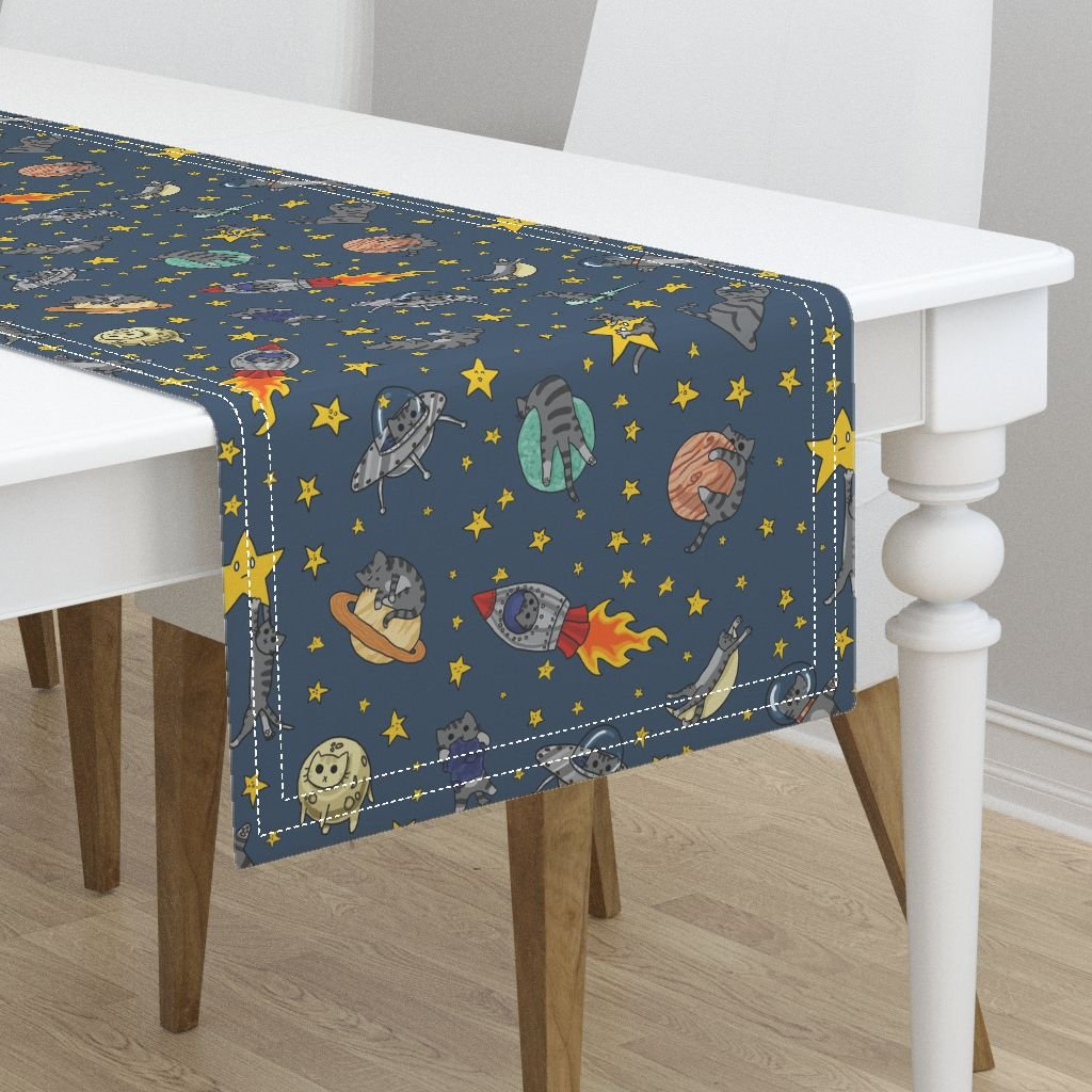 Table Runner - Space Cat Cats Outer Space Rocket Solar System Stars by Amber Morgan - Cotton Sateen Table Runner 16 x 108