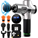 Massage Gun,Handheld Deep Muscle Massager,Cordless Vibration Massage Device Helps Relieve Muscle Soreness and Stiffness (Silver)
