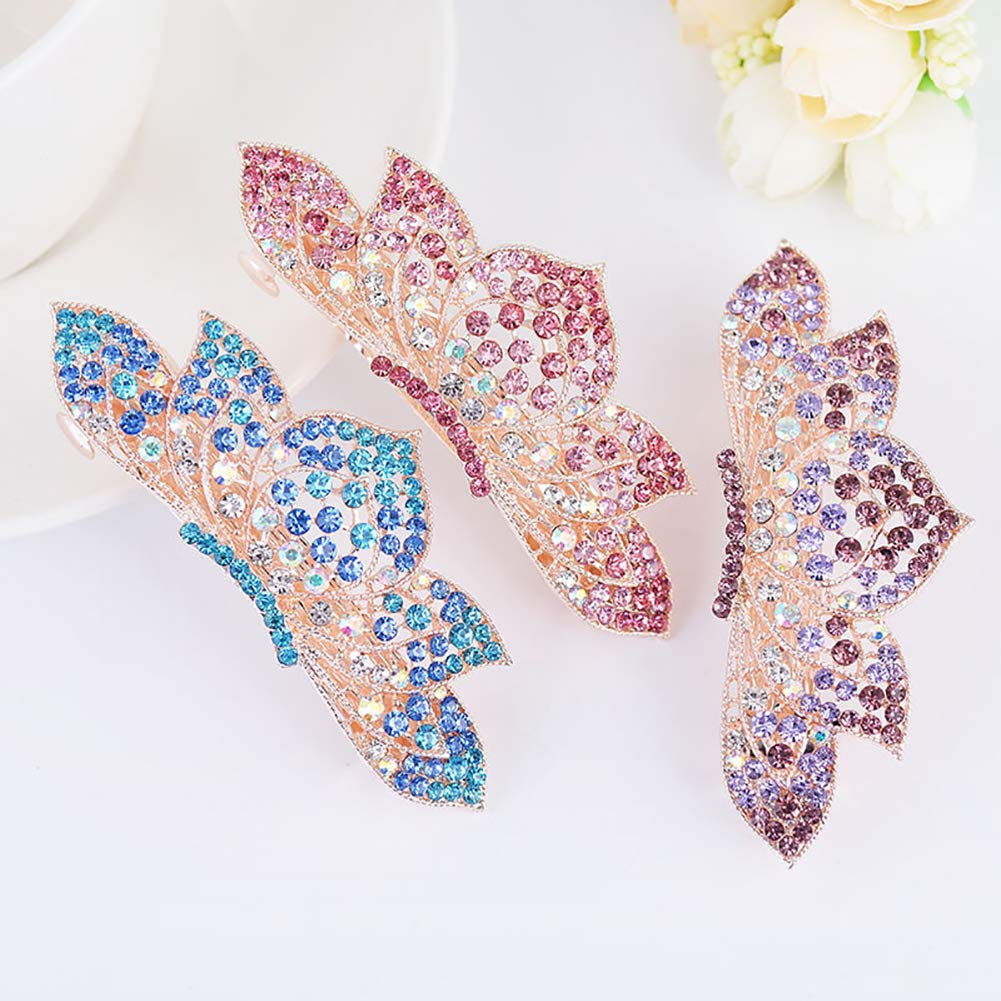YUnnuopromi Women Girls Hair Clips Spring Hairpins Rhinestone Lotus Accessory Headwear for Party Decor Pink