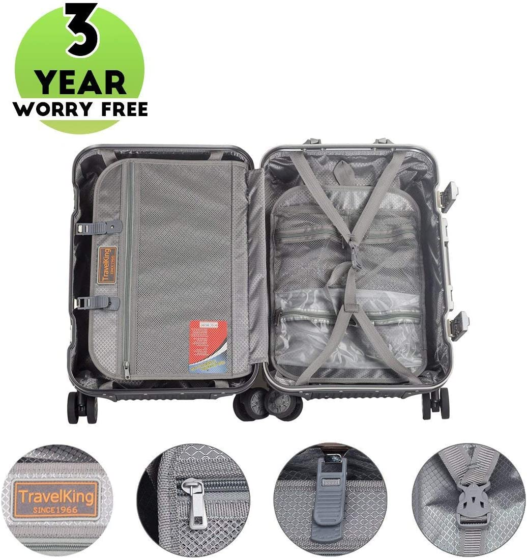 Travelking Aluminum Luggage Carry On Spinner Hard Shell Suitcase Lightweight Metal Suitcases Grey, 24 Inch