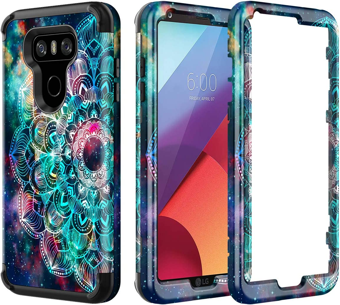 Lamcase Compatible with LG G6 Case Shockproof Dual Layer Hard PC & Flexible Silicone High Impact Durable Bumper Protective Case Cover for LG G6 2017, Mandala/Galaxy