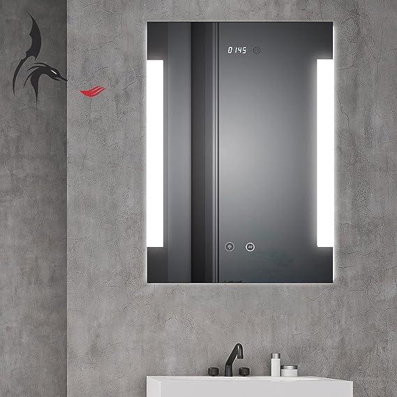 HAMBURG Badspiegel mit LED Beleuchtung Spiegel Heizmatte Touch Sensor Uhr A10