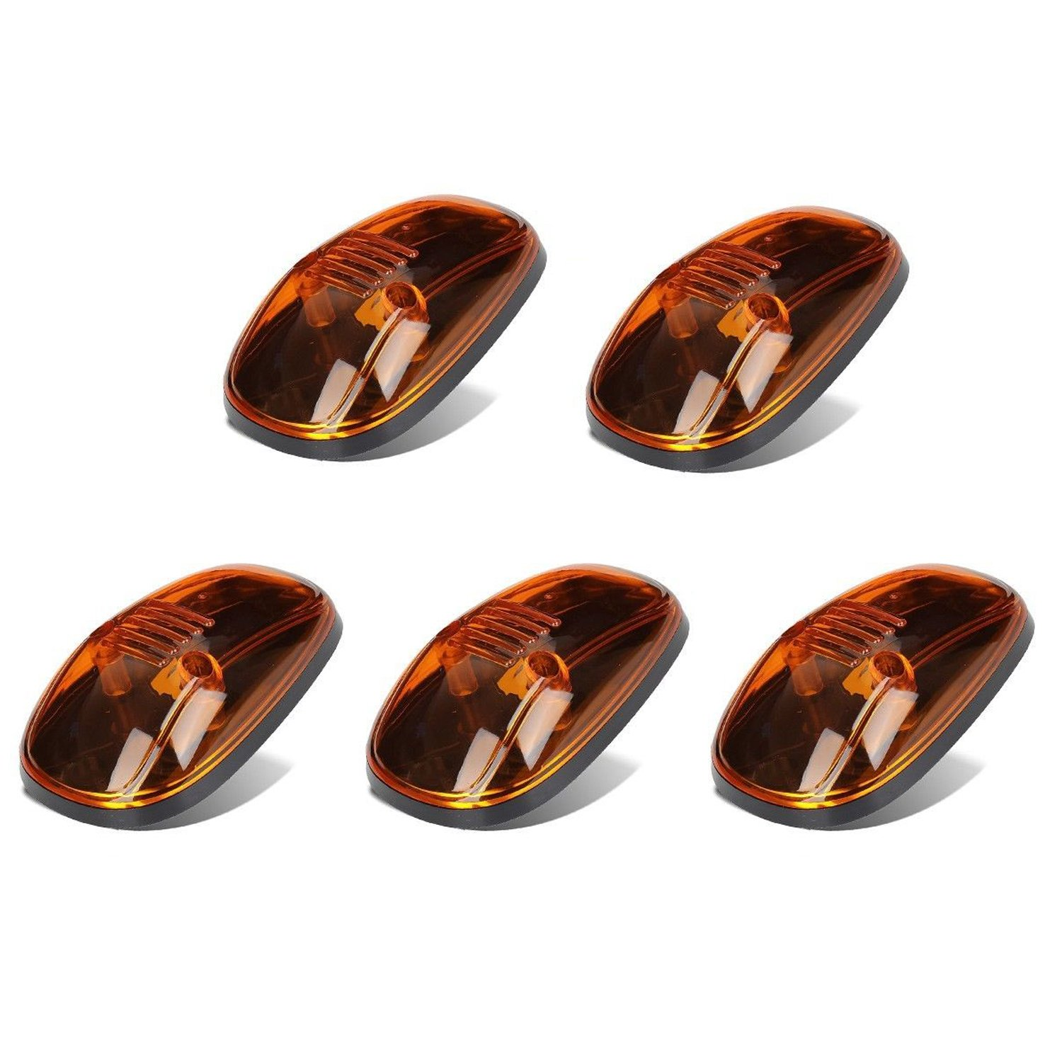 Smoke Cab + T10 Wiring Pack 5pcs Smoked Cab Top Marker Roof Light Covers with Base Housing for Dodge RAM 1500 2500 3500 4500 5500