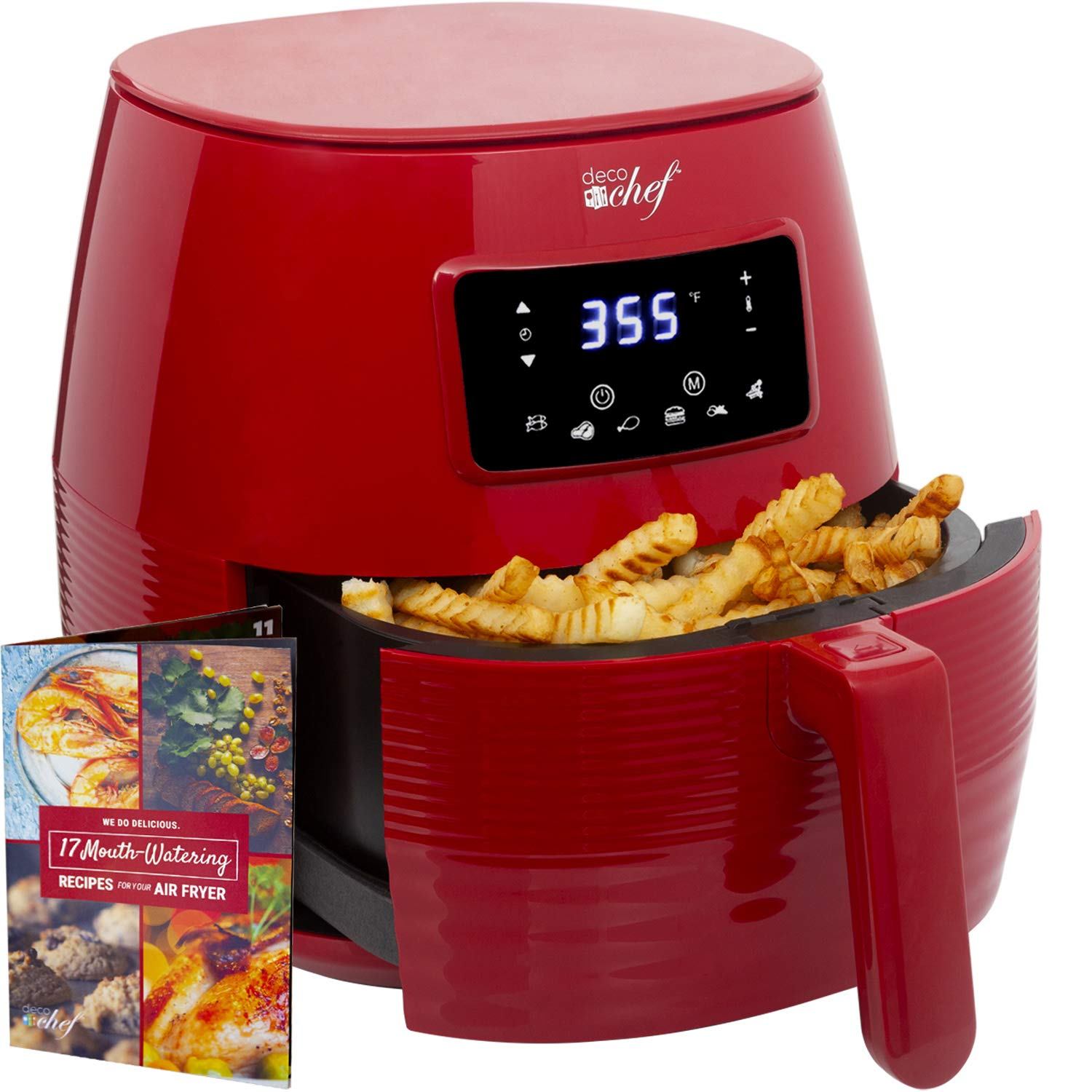 Deco Chef Digital Electric Air Fryer with Accessories and Cookbook- Air Frying, Roasting, Baking, Crisping, and Reheating for Healthier and Faster Cooking Red
