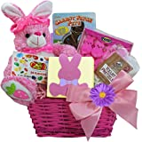 Bunny Treats Chocolate and Candy Easter Gift Basket (Pink)