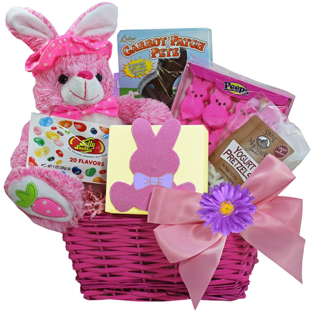 Amazon classic easter basket gourmet candy gifts grocery bunny treats chocolate and candy easter gift basket pink negle Image collections