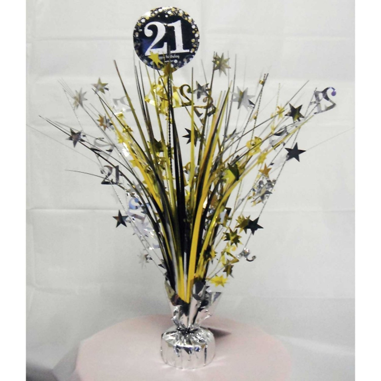 21st Birthday Spray Centrepiece Table Decoration Black Silver Gold Amazoncouk Toys Games